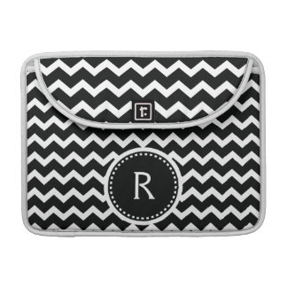 Black and White Chevron Zig Zag Retro Elegance MacBook Pro Sleeve