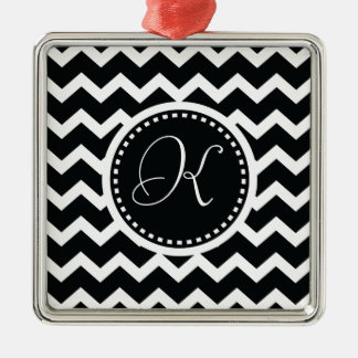 Black and White Chevron Zig Zag Retro Elegance Metal Ornament