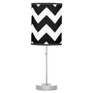Black and White Chevron Zigzag Pattern 2 Table Lamps