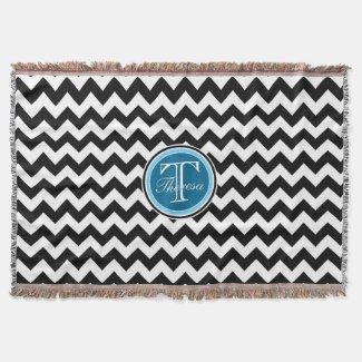 Black and White Chevron Zigzag Pattern Monogram Throw Blanket