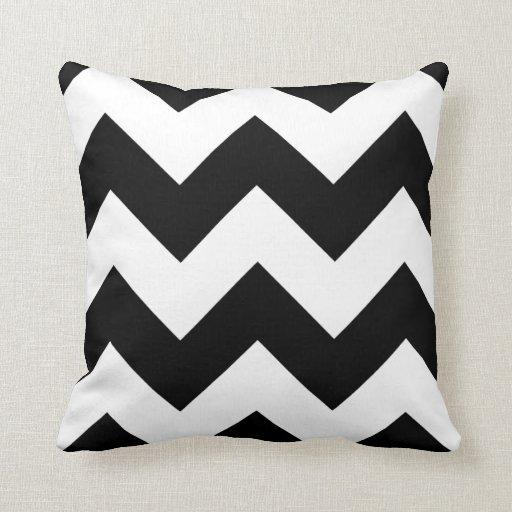 Black And White Chevron Throw Pillows : Black and White Chevron Zigzag Throw Pillow Zazzle