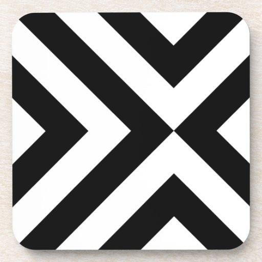 Black and White Chevrons Beverage Coaster