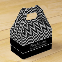 Black and White Chevrons Birthday Party Favor Box