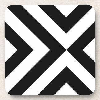 Black and White Chevrons Beverage Coaster