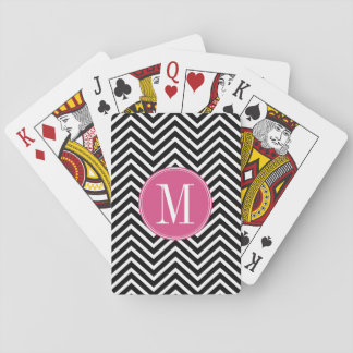 Black and White Chevrons Custom Pink Monogram Deck Of Cards