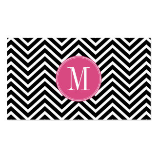 Black and White Chevrons Custom Pink Monogram Double-Sided Standard Business Cards (Pack Of 100)