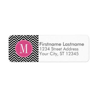 Black and White Chevrons Custom Pink Monogram Label