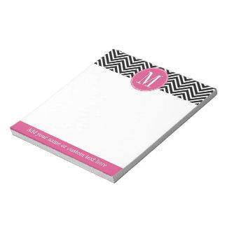 Black and White Chevrons Custom Pink Monogram Note Pad