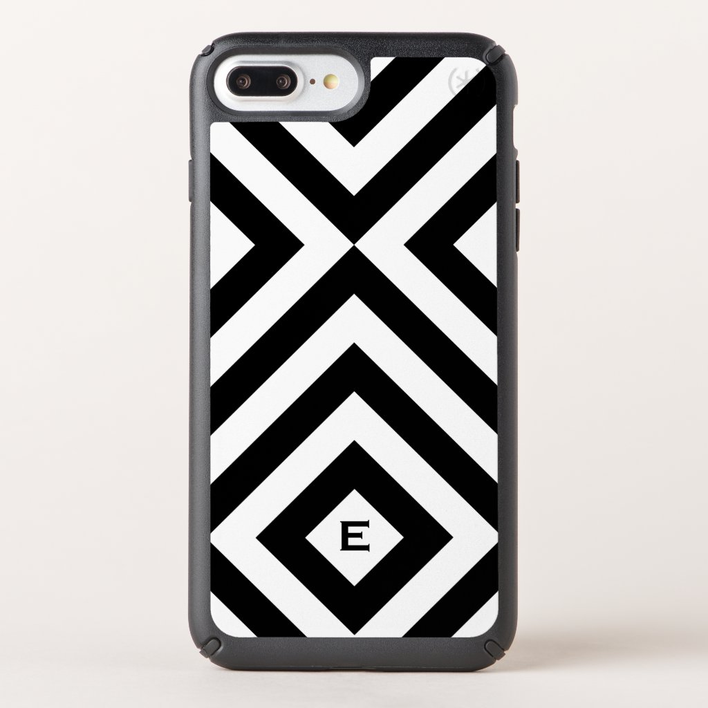 Black and White Chevrons, Diamonds with Monogram Speck iPhone Case