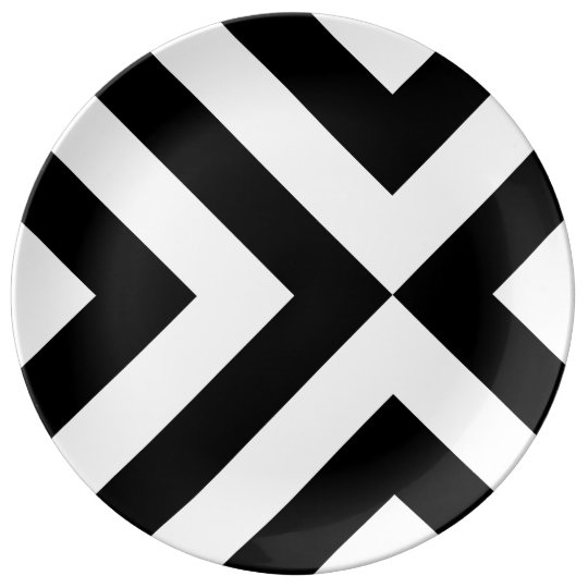 Black and White Chevrons Dinner Plate