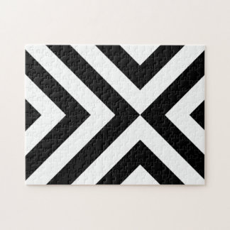 Black and White Chevrons Jigsaw Puzzle