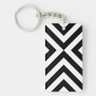 Black and White Chevrons Rectangular Acrylic Key Chain