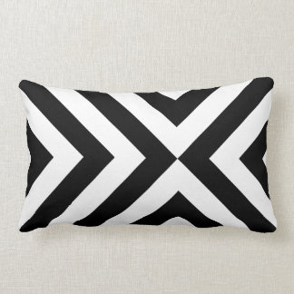 Black and White Chevrons Lumbar Pillow