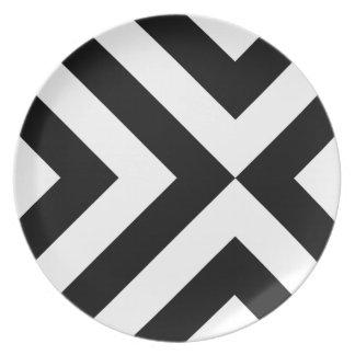 Black and White Chevrons Melamine Plate