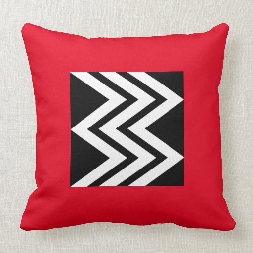 Black and White Chevrons on a Red Background Throw Pillow Zazzle