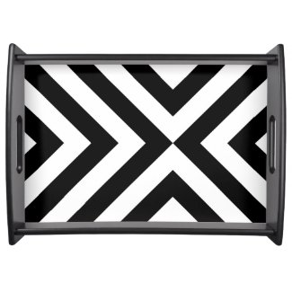 Black and White Chevrons Serving Platters