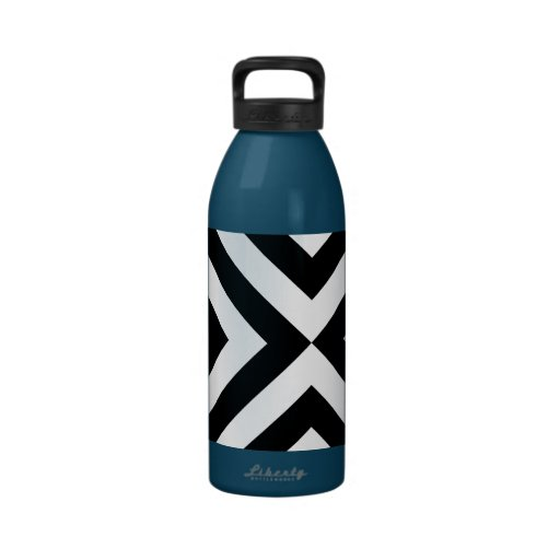 Black and White Chevrons Water Bottles
