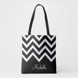 Black and White Chevrons with Monogram Tote Bag