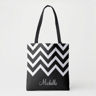 dancingpelican Black and White Chevrons with Monogram Tote Bag