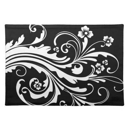 Black and White Chic Country Floral Place Mat