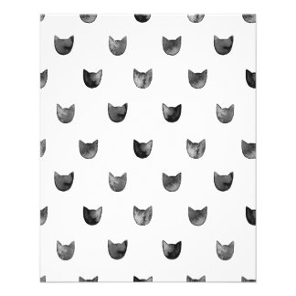 """Black and White Chic Cute Cat Pattern 4.5"""" X 5.6"""" Flyer"""
