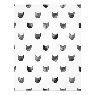 """Black and White Chic Cute Cat Pattern 8.5"""" X 11"""" Flyer"""