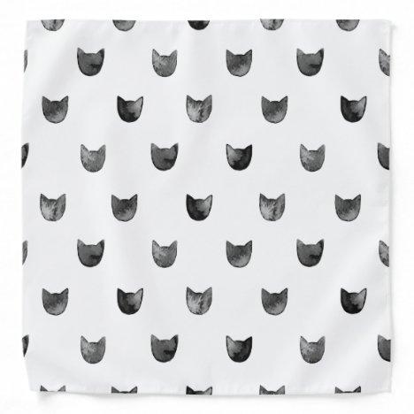 Black and White Chic Cute Cat Pattern Bandana