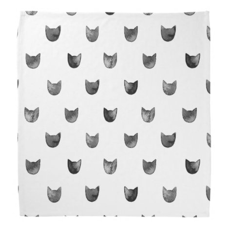 Black and White Chic Cute Cat Pattern Bandana