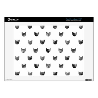 Black and White Chic Cute Cat Pattern Decal For Acer Chromebook