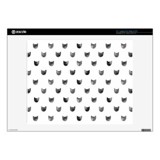"Black and White Chic Cute Cat Pattern Decals For 14"" Laptops"