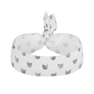 Black and White Chic Cute Cat Pattern Elastic Hair Tie