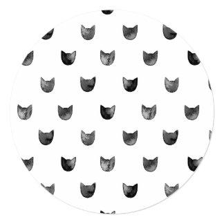 Black and White Chic Cute Cat Pattern 5.25x5.25 Square Paper Invitation Card