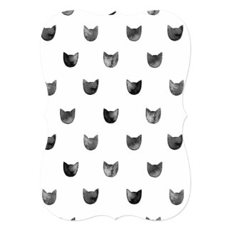 Black and White Chic Cute Cat Pattern 5x7 Paper Invitation Card