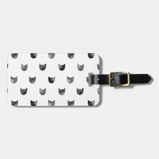 Black and White Chic Cute Cat Pattern Luggage Tag