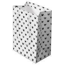 Black and White Chic Cute Cat Pattern Medium Gift Bag