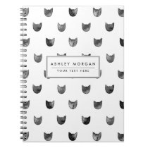 Black and White Chic Cute Cat Pattern Notebook