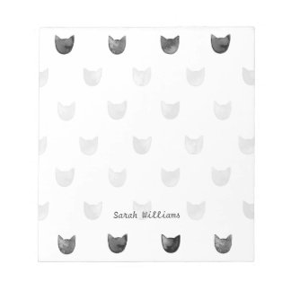 Black and White Chic Cute Cat Pattern Notepad