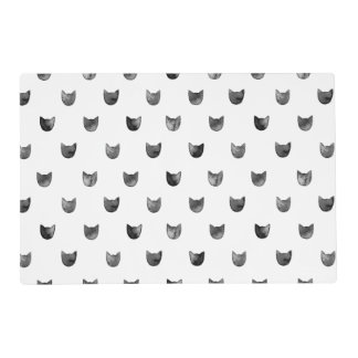 Black and White Chic Cute Cat Pattern Laminated Place Mat