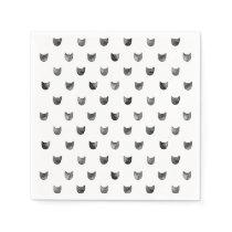 Black and White Chic Cute Cat Pattern Paper Napkin