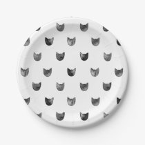 Black and White Chic Cute Cat Pattern Paper Plate