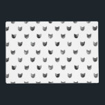 """Black and White Chic Cute Cat Pattern Placemat<br><div class=""""desc"""">Black and White Chic Cute Cat Pattern</div>"""