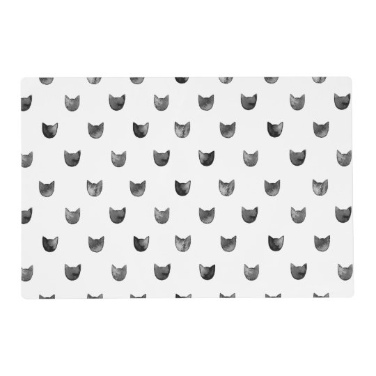 black and white chic cute cat pattern placemat. Black Bedroom Furniture Sets. Home Design Ideas