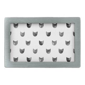 Black and White Chic Cute Cat Pattern Rectangular Belt Buckle