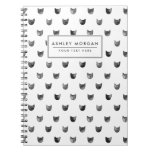 Black and White Chic Cute Cat Pattern Spiral Notebook