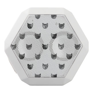 Black and White Chic Cute Cat Pattern White Bluetooth Speaker