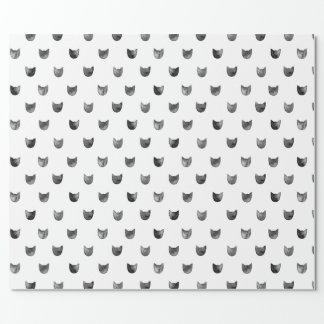 Black and White Chic Cute Cat Pattern Wrapping Paper