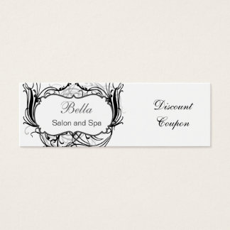 black and white Chic discount coupon Mini Business Card