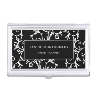 Black and White Chic Floral Damask Business Card Case