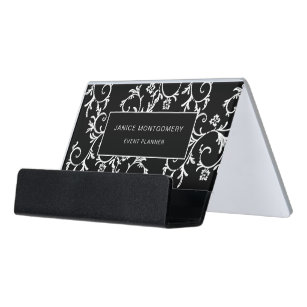 Black And White Chic Fl Damask Desk Business Card Holder