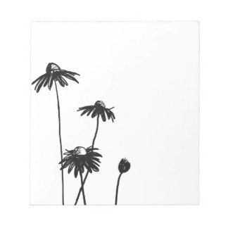 Black and White Chic Flower Memo Pads